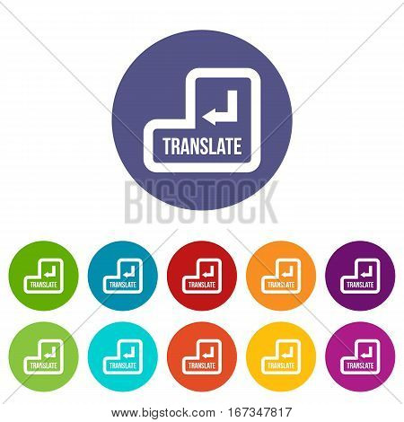 Translate button set icons in different colors isolated on white background