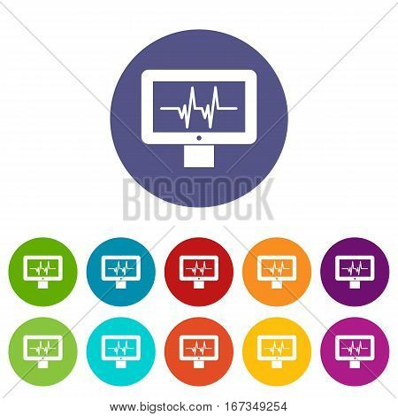 Electrocardiogram monitor set icons in different colors isolated on white background
