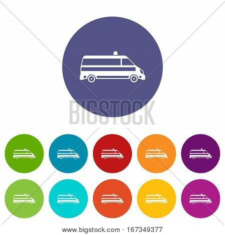 Ambulance car set icons in different colors isolated on white background