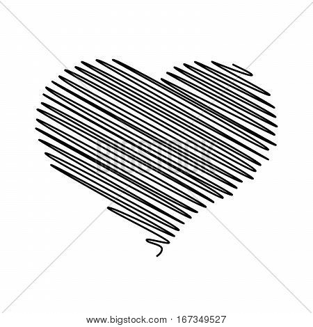 Heart - pencil scribble sketch drawing in black on white background. Valentine card doodle concept. Vector illustration.