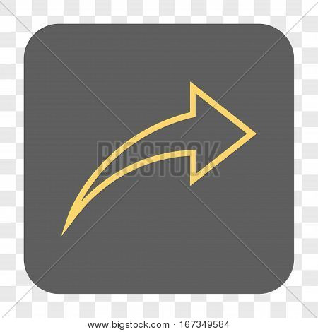 Redo interface toolbar button. Vector icon style is a flat symbol in a rounded square button yellow and gray colors chess transparent background.