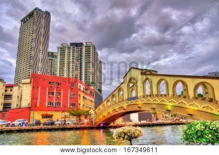 Jambatan Cathay Bridge over the Malacca River in Malacca, Malaysia