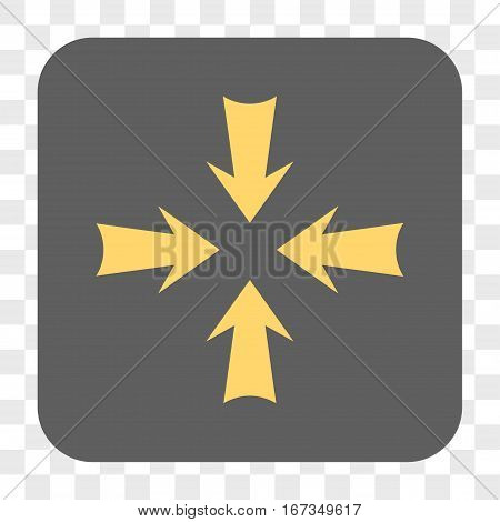 Reduce Arrows interface toolbar button. Vector icon style is a flat symbol in a rounded square button yellow and gray colors chess transparent background.