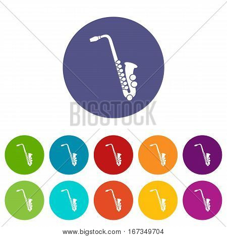 Saxophone set icons in different colors isolated on white background