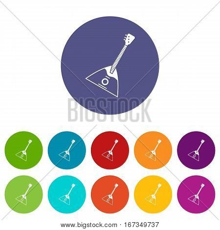 Balalaika set icons in different colors isolated on white background