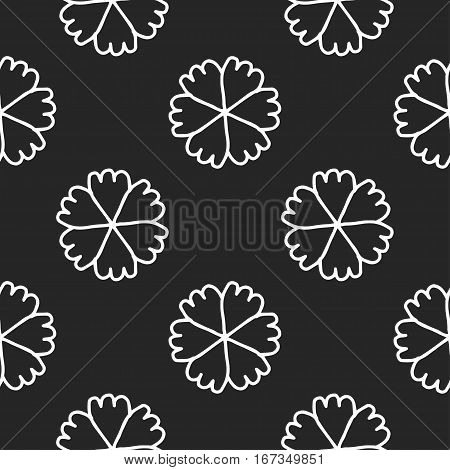 Vector doodle flowers Seamless background Hand drawn image