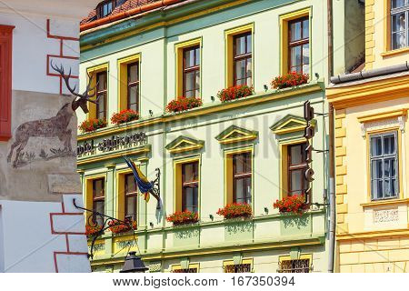 Sighisoara, Romania - July 08, 2015: Unidentified Tourists Walking In Historic Town Sighisoara. City