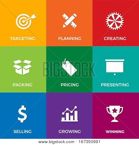 Vector set of white flat icons on business and marketing theme: like planning, selling, presenting and growing