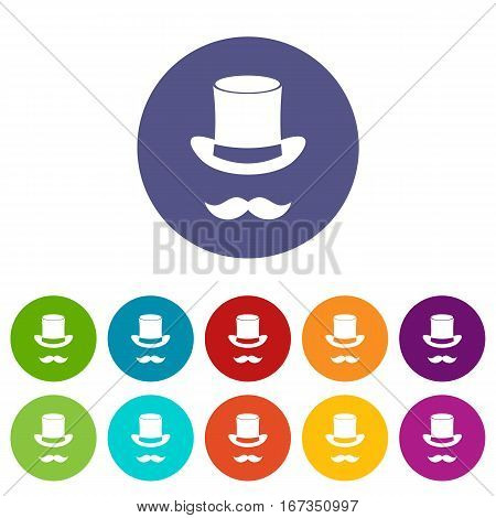 Magic black hat and mustache set icons in different colors isolated on white background