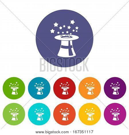 Magic hat with stars set icons in different colors isolated on white background