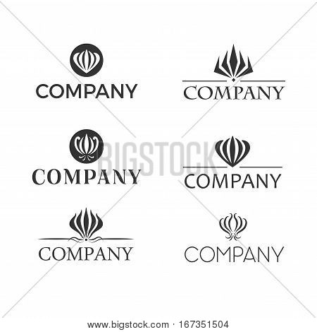 Set od black and white retro designed logos with gloriosa or flame lily flower.