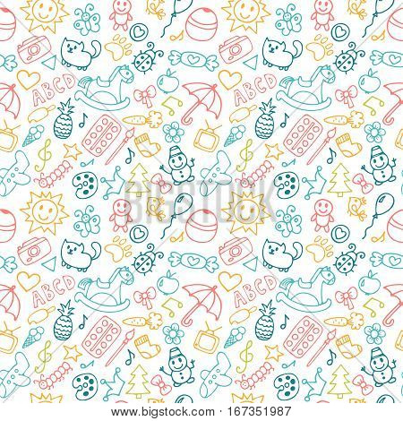 Background For Little Boys And Girls In Sketch Style. Doodle Children Drawing Background. Hand Drawn