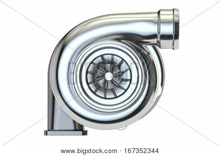Car turbocharger 3D rendering isolated on white background