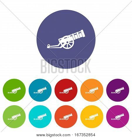 Cannon set icons in different colors isolated on white background