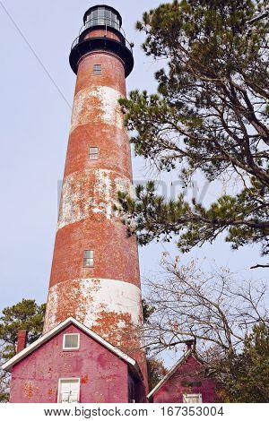 Assateague Lighthouse in Virginia. Assateague Island Virginia USA.