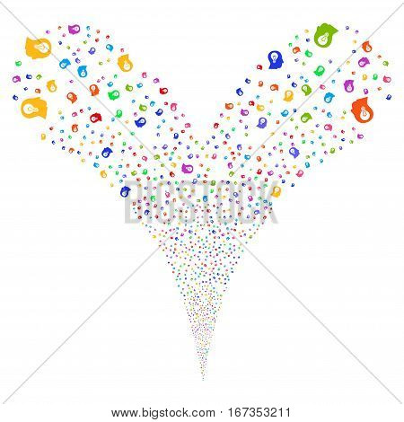 Intellect Bulb fireworks stream. Vector illustration style is flat bright multicolored iconic symbols on a white background. Object double fountain made from random icons.