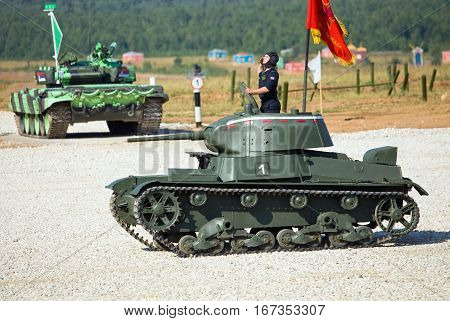 MOSCOW REGION - AUGUST 4:  Tank of the Second World War on the theatrical show of military retro machinery  on August 4, 2014 in Moscow region