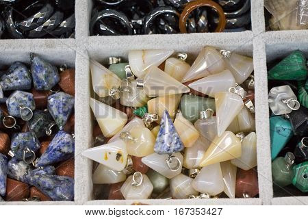 Set Of Natural Mineral Gemstones Of Various Type