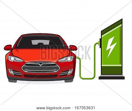 Electric vehicle and electric filling station. Sign, symbol