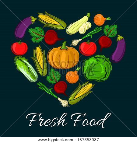 Heart shaped farm harvest vegetables. Organic radish or beets, healthy corn and fresh tomato, napa or chinese cabbage and eggplant, zucchini. Vegetarian food or vegan shop, grocery store or veggie market stall, counter, nutrition and salad theme