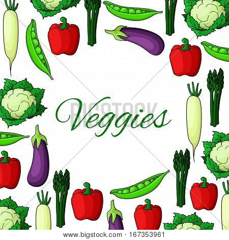 Vegetable natural food poster. Farm asparagus and bell pepper, eggplant and daikon, peas and cauliflower. Farming or harvest, nature and health, salad or kitchen cooking, crop theme, restaurant or market, shop advertisement