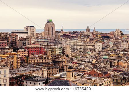 Genoa afternoon panorama - seen from the hill. Genoa Liguria Italy.