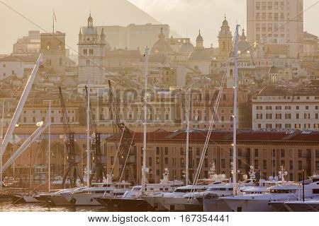 Old town in Genoa accross the harbor. Genoa Liguria Italy.