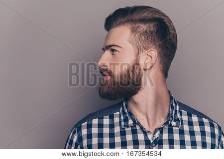 Handsome Bearded Young Man Isolated On Gray Background
