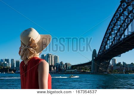 Woman On Vacation In Sydney Harbour