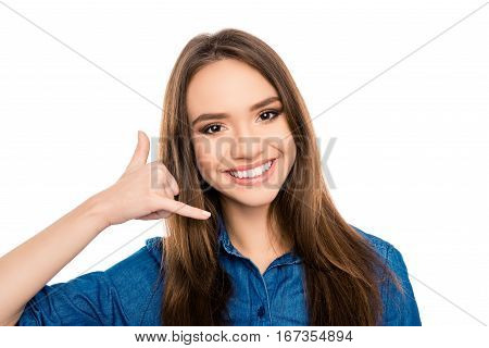 Portrait Of Happy Cheerful Woman Asking To Call Her