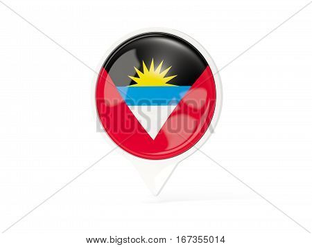 Round White Pin With Flag Of Antigua And Barbuda