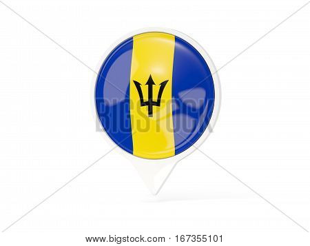Round White Pin With Flag Of Barbados