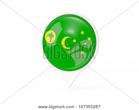 Round White Pin With Flag Of Cocos Islands
