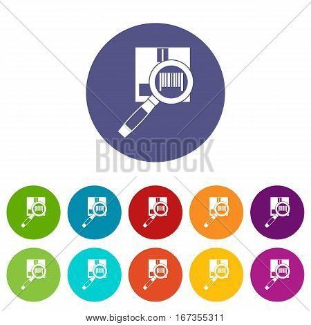 Magnifier and diskette set icons in different colors isolated on white background