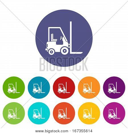Stacker loader set icons in different colors isolated on white background