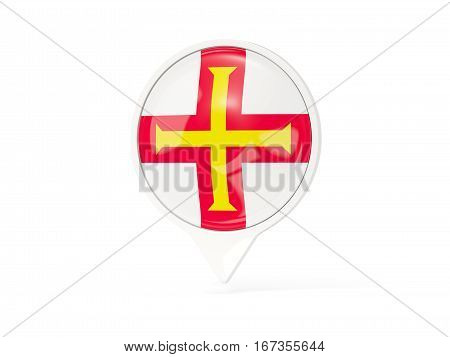Round White Pin With Flag Of Guernsey