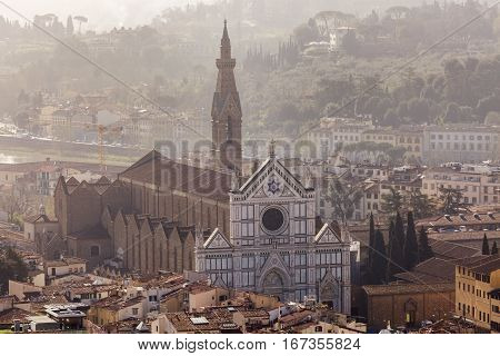 Basilica of Santa Croce in Florence. Florence Tuscany Italy.