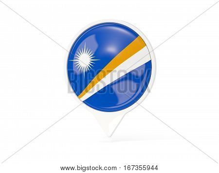 Round White Pin With Flag Of Marshall Islands
