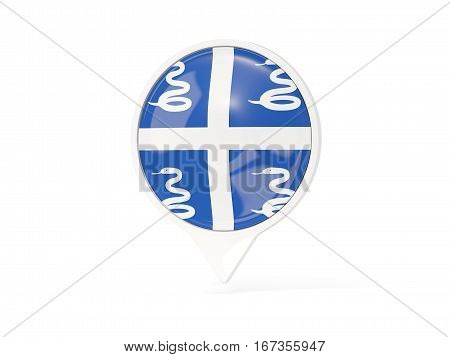 Round White Pin With Flag Of Martinique