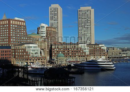 Boston, MA - December 3, 2016.  Boston Harbor and the Financial Disrict