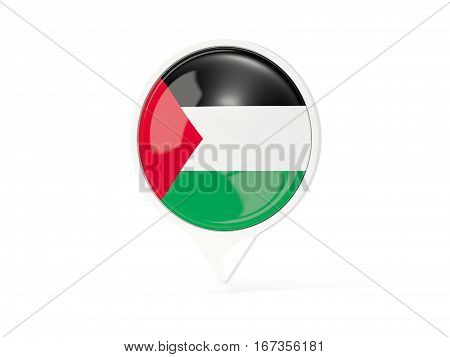 Round White Pin With Flag Of Palestinian Territory