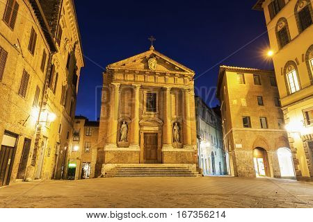 Old town in Siena at night. Siena Tuscany Italy.