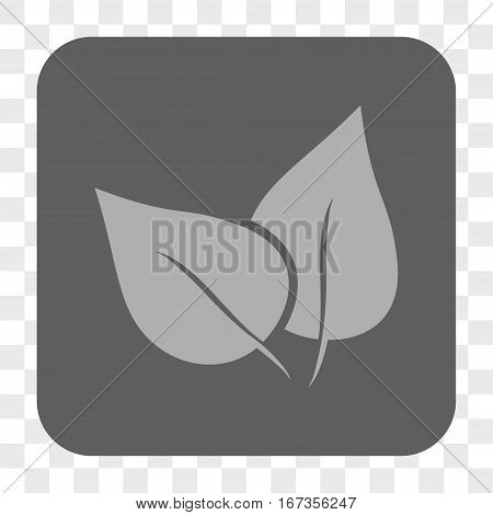 Flora Plant interface toolbar button. Vector icon style is a flat symbol on a rounded square button light gray and gray colors chess transparent background.