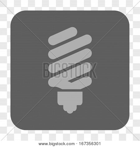 Fluorescent Bulb interface toolbar button. Vector icon style is a flat symbol on a rounded square button light gray and gray colors chess transparent background.
