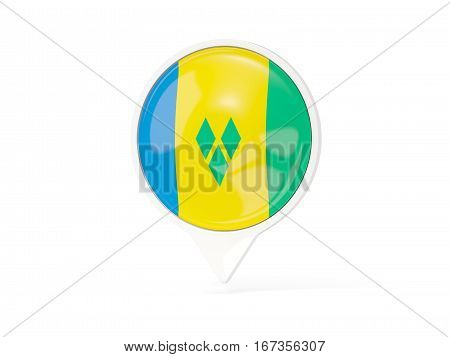 Round White Pin With Flag Of Saint Vincent And The Grenadines