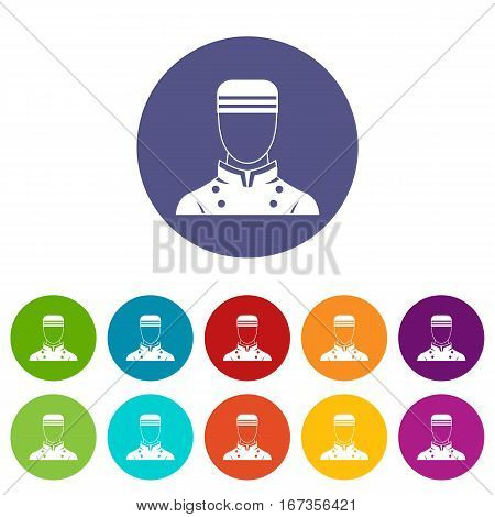 Doorman set icons in different colors isolated on white background