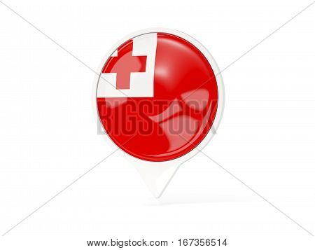 Round White Pin With Flag Of Tonga
