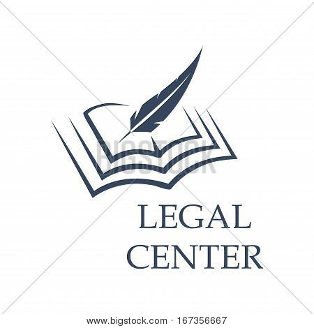 Legal center symbol as feather writing on book. Judgment certificate or police document, crime verdict icon, lawsuit sign or crime punishment badge. Wisdom or prosecutor decision theme, court logo