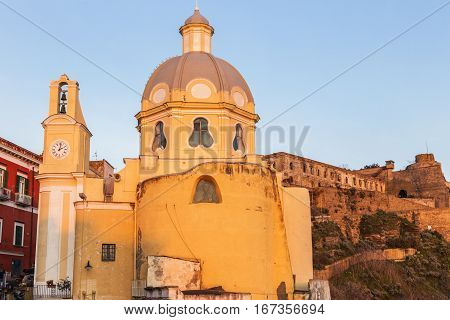 Church of Santa Maria delle Grazie on Procida Island. Procida Campania Italy.