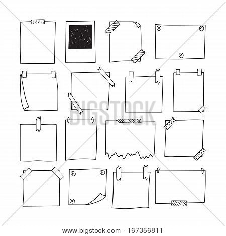 Set Of Hand Drawn Paper Notes. Notepapers And Photo Frame. Sketch Papers For Your Messages